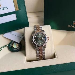 ROLEX - ロレックスGローズゴールド自動機械女子時計オリーブグリーン