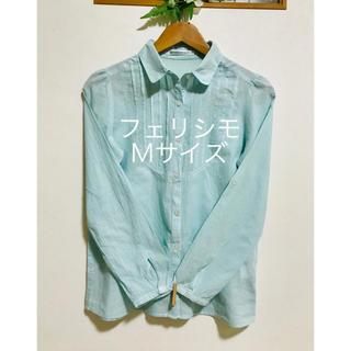 FELISSIMO - フェリシモ 丸襟 タック 水色グリーン コットン100 %