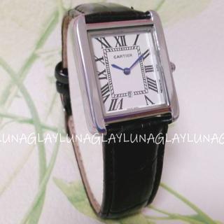 Cartier - 新品 レディース 時計 ブラック 黒 本革ベルト カルティエ タンクソロ