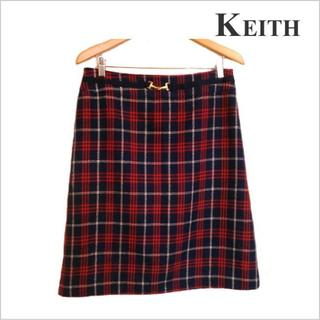 キース(KEITH)のKEITH◆紺赤チェック柄ウール膝丈スカート◆大きいサイズ  / 44◆ルック(ひざ丈スカート)