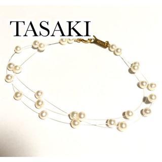 TASAKI - 田崎真珠 k18YG パール 3連 ワイヤー ステーション ブレスレット