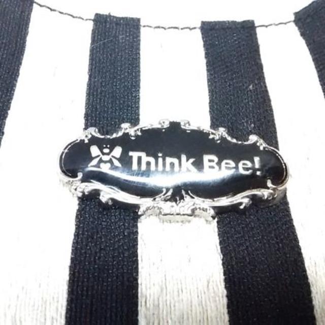 Think Bee!(シンクビー)の美品ThinkBee トートバッグ 黒×アイボリー ストライプ レディースのバッグ(トートバッグ)の商品写真