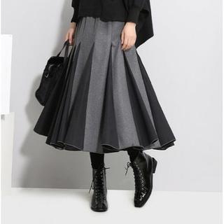 【グレー×ブラック】プリーツ フレアスカート スカート(ロングスカート)