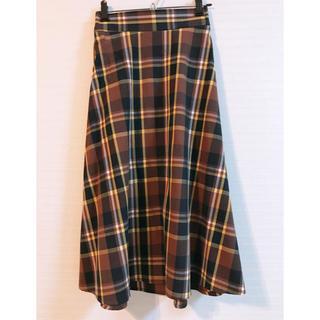 GU - 美品♡秋色チェックロングスカート♡