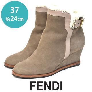 フェンディ(FENDI)の美品❤️フェンディ インナーボア ベルト ショートブーツ 37(約24cm)(ブーツ)