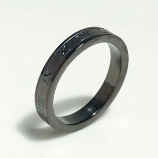 アウトレット 名入れ無料 平仮名 漢字可  ローマナンバーブラック リング1個 (リング(指輪))