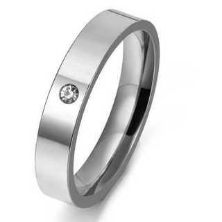 czダイヤモンド埋め込みステンレスリング(シルバー) サイズ:18号(リング(指輪))