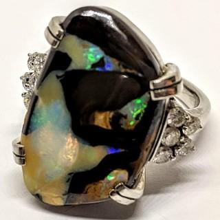 【天然ボルダーオパール】【天然ダイヤモンド】PT900 リング 12.1g (リング(指輪))