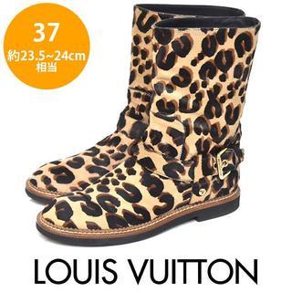 ルイヴィトン(LOUIS VUITTON)のほぼ新品❤️ルイヴィトン ハラコ ヒョウ柄 ミドルブーツ 37(約23.5-24(ブーツ)