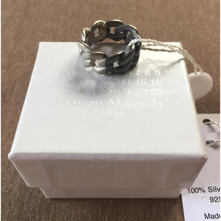 マルタンマルジェラ(Maison Martin Margiela)の19AW新品M マルジェラ ツートーン チェーンリング ブラック 今期 (リング(指輪))