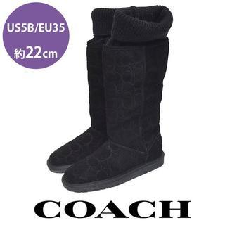 コーチ(COACH)の新品❤️コーチ ニット スウェード ロングブーツ US 5B/EU35(約22(ブーツ)