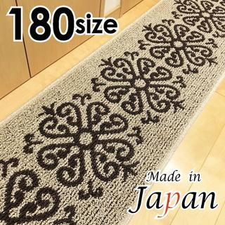45x180*新品日本製*フラワー❁ダマスク*ベージュ