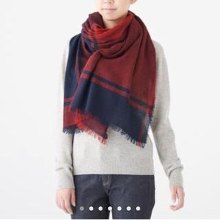 ムジルシリョウヒン(MUJI (無印良品))のカシミヤ平織り ストール 180✕80・赤✕柄(マフラー/ストール)