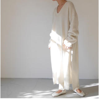 BEAUTY&YOUTH UNITED ARROWS - argue*lambs wool knit dress ホワイト レギンスSET