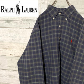 Ralph Lauren - 【レア】ラルフローレン☆刺繍ワンポイントロゴ チェック柄 長袖BDシャツ 90s