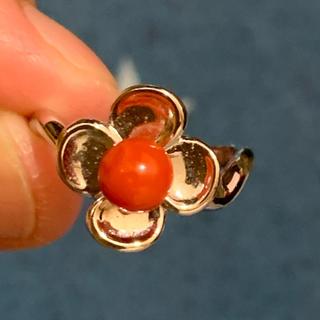 シルバーリング お花のリング 珊瑚コーラル天然石フラワーリング(リング(指輪))