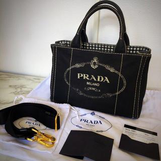 PRADA - カナパ ショルダー チェック PRADA バッグ 黒色