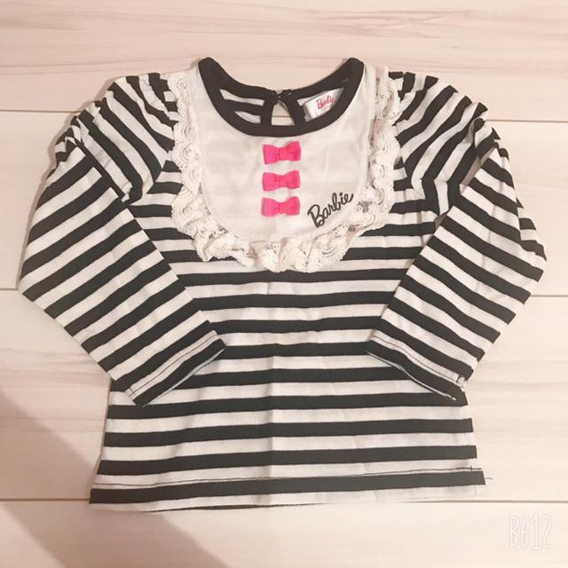 Barbie(バービー)の1度着用!バービー Barbie 長袖トップス ボーダー リボン 95 キッズ/ベビー/マタニティのキッズ服 女の子用(90cm~)(Tシャツ/カットソー)の商品写真