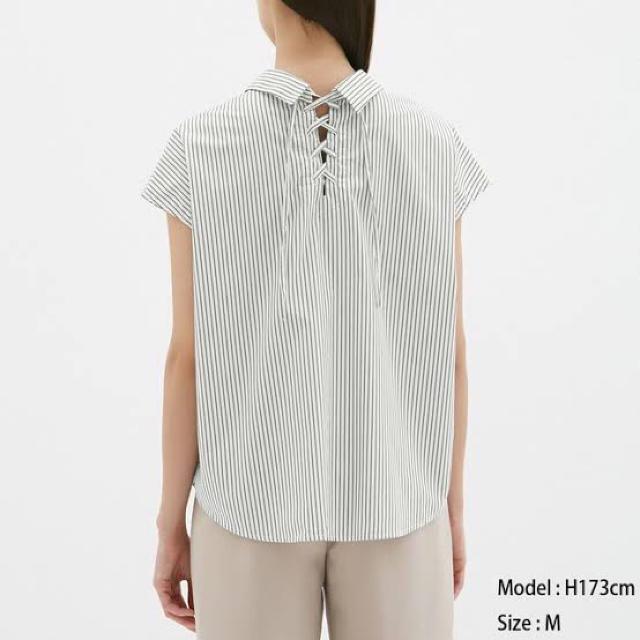 GU(ジーユー)の新品 GU バッグリボン ストライプシャツ S レディースのトップス(シャツ/ブラウス(半袖/袖なし))の商品写真