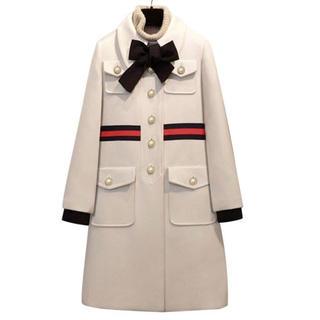 チェスティ(Chesty)のパール付き ホワイトコート(ロングコート)