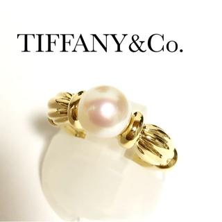 Tiffany & Co. - ティファニー TIFFANY K18YG アコヤパール 7.1mm リング 真珠