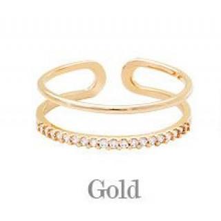 新品〔ゴールド〕フリーサイズ ラインストーン リング 指輪(リング(指輪))