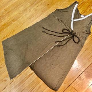 アシンメトリーな裾のチュニック ブラウン(茶色) エスニック(チュニック)