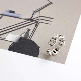 新作 スターリングシルバー リングチェーン オープンデザイン  韓国ファッション(リング(指輪))