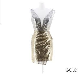 デイジーストア(dazzy store)のドレス スパンコール ゴールド シルバー(ミニドレス)