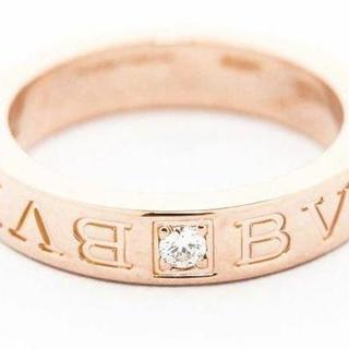 ブルガリ(BVLGARI)の超美品 ブルガリ ダブルロゴ リング ピンクゴールド 指輪(リング(指輪))