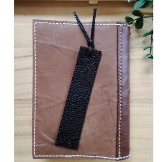 革のしおり Bookmark 黒革 シンプルDesign(しおり/ステッカー)
