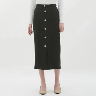 GU - GU リブフロントボタンナローミディスカート ブラック M