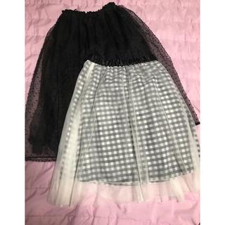 ◆美品◆ドットオーガンジー+チェックチュール◆スカート2点set◆(ひざ丈スカート)