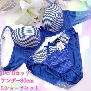 D80L♡ソニアブルー♪ブラ&ショーツ 大きいサイズ(ブラ&ショーツセット)