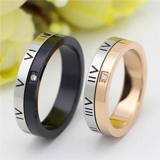 一粒ローマ字ペアリング ステンレスリング ステンレス指輪 ピンキーリング(リング(指輪))
