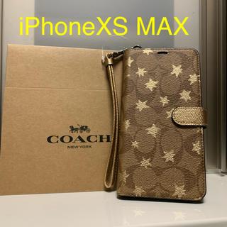 コーチ(COACH)の新品 COACH コーチ iPhoneXS MAX 手帳型ケース 星(iPhoneケース)