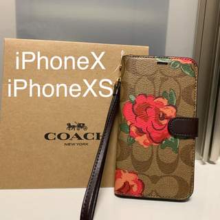 COACH - 新品 COACH コーチ iPhoneX iPhoneXS 手帳型 ケース 花