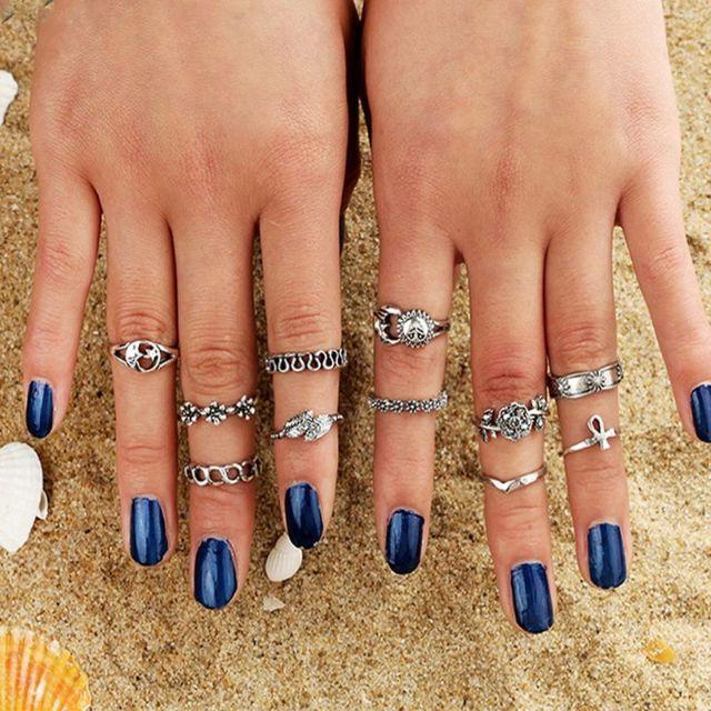 指輪 レディース リング シルバー 11点セット アジアン 指輪セット 格安 レディースのアクセサリー(リング(指輪))の商品写真