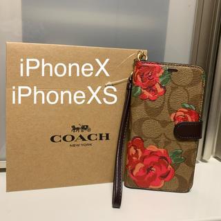 コーチ(COACH)の新品 COACH コーチ iPhoneX iPhoneXS 手帳型 ケース 花(iPhoneケース)