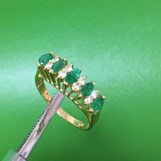 K14YG エメラルド ダイヤモンドファッション リング 13号(リング(指輪))
