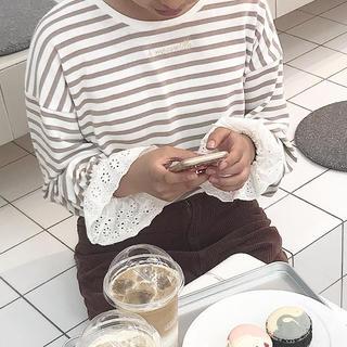 ワンアフターアナザーナイスクラップ(one after another NICE CLAUP)のナイクラ キャンディースリーブ トップス ベージュ(カットソー(長袖/七分))