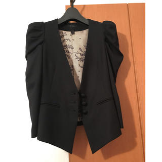 DEUXIEME CLASSE - ◆ノーカラータキシードタイプ パフスリーブジャケット黒