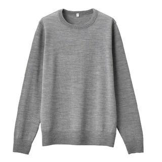 MUJI (無印良品) - ◆新品◆ 無印良品ウールシルク洗えるクルーネックセーター/グレー/M
