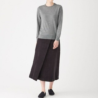 MUJI (無印良品) - ★新品★ 無印良品ウールシルク洗えるクルーネックセーター/グレー/M