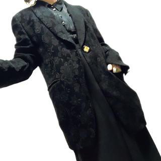 レリアン(leilian)の[古着]ヴィンテージ フラワー ジャガード テーラードジャケット ブラック(テーラードジャケット)