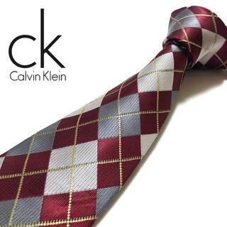 Calvin Klein - 【未使用に近い】Calvin Klein ネクタイ イタリア製 えんじ ×グレー