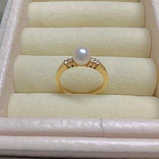 ミキモト(MIKIMOTO)のミキモト  パール ダイヤモンド リングK18(リング(指輪))