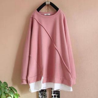 LAUA074秋冬レディース 綿 重ね着風 ロングTシャツ(3色L-4XL)(トレーナー/スウェット)