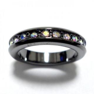 10号 フルエタニティ スワロフスキー オーロラクリア ガンメタリング(リング(指輪))