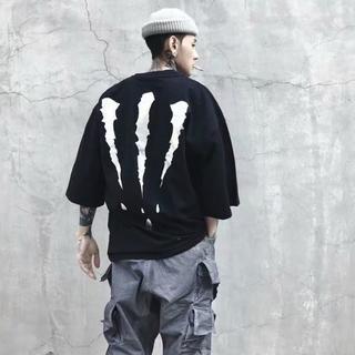 モンスター Tシャツ 黒 2XL オーバーサイズ ハロウィン メンズ(Tシャツ/カットソー(半袖/袖なし))